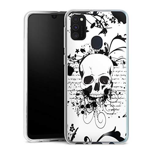 DeinDesign Silikon Hülle kompatibel mit Samsung Galaxy M30s Hülle transparent Handyhülle Ornamente Totenkopf Rock