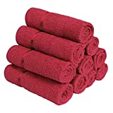 """Face Towel Size: (12"""" X 12"""") or (30 cm X 30 cm) Material: 100 % Cotton, GSM: 450 Color: Wine Red Package Contents: 10 Pc Face Towel"""