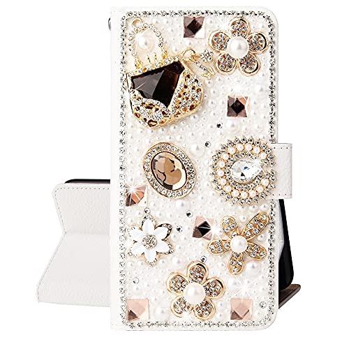 SEEYA Funda con purpurina para Xiaomi Poco X3 NFC, Bling Rhinestone Diamond Gems 3D Flor Diseño PU Cuero Teléfono Flip Wallet con titulares de tarjetas Cubierta magnética para Xiaomi Poco X3 NFC