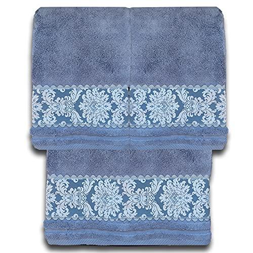 O´LANG-10026- Juego 3 Toallas Premium de 600 Gramos con Greca Estampada, Color Azul, 100% Algodón. Compuesto por 3 Toallas - 2 Toallas de Lavabo (50x100cm) y 1 Toalla de baño Grande (100x150cm). ⭐