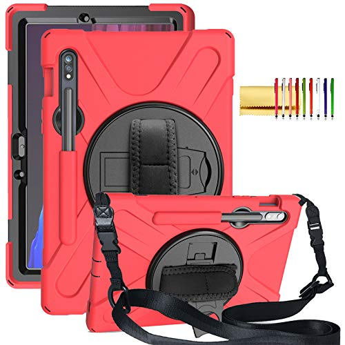 """Galaxy Tab S7 Plus Case with Pen Holder, Techcircle Rotating Kickstand Rugged Heavy Duty Shockproof Protective Cover Case with Hand Strap for Samsung Tab S7+ 12.4"""" (2020) SM-T970/T975/T976, Red"""