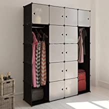 vidaXL Modular Cabinet 14 Compartments Black and White 37x146x180.5 cm