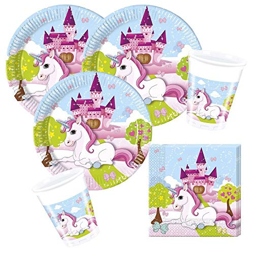 36-teiliges Party-Set Einhorn - Unicorn - Teller Becher Servietten für 8 Kinder