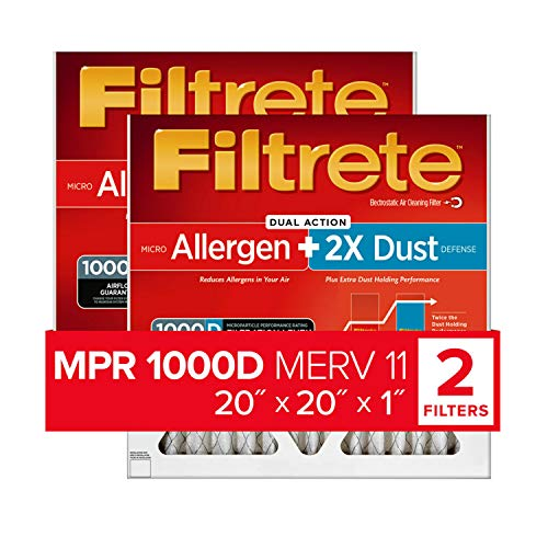 Filtrete MPR 1000D 20x20x1 AC Furnace Air Filter, Micro Allergen PLUS DUST, 2-Pack (Holds 2X More Dust!)