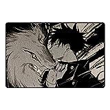 GUANGZHENG Jujutsu Kaisen Teppich Fushiguro Megumi und der Wolf Muster Anime-Teppich-Wohnzimmer Schlafzimmer rutschfeste Matte Weiche und komfortable, warme Füße for Anime-FA