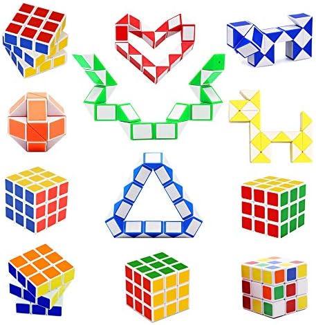 12 Pack 24 Blocks Magic Snake Cube Speed Cube Set Mini Plastic Puzzle Cube Fidget Toys Puzzle product image
