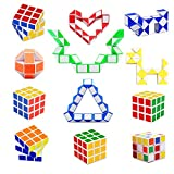 12 Pack 24 Blocks Magic Snake Cube, Speed Cube Set, Mini Plastic Puzzle Cube, Fidget Toys, Puzzle Party Toy for Kids Party Bag Filler, Random Colors, Party Supplies