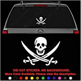 jolly roger car window decal - Jolly Roger Skull Pirate Calico Die Cut Vinyl Decal Sticker for Car Truck Motorcycle Vehicle Window Bumper Wall Decor Laptop Helmet Size- [6 inch] / [15 cm] Wide || Color- Gloss White