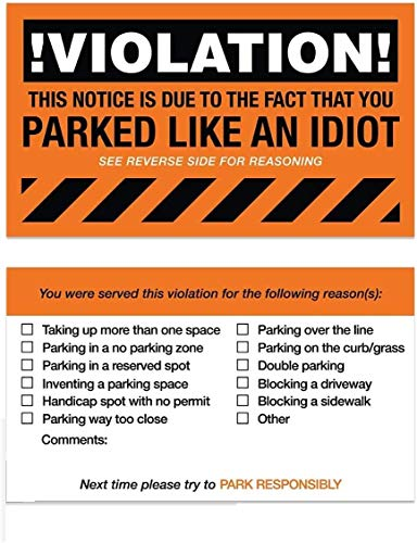 """You Parked Like an Idiot Business Cards / 100 Bad Parking Cards / 2"""" x 3"""" Cards Photo #4"""