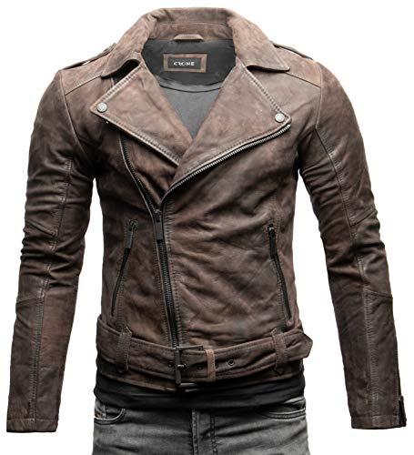 Crone Fynn Herren Biker Lederjacke Basic Echtleder Jacke mit Gürtel und Reverskragen (XL, Elephant (Nubukleder))