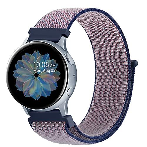 DEOU Correa para Samsung Galaxy Watch Active 2 40mm 44mm & Galaxy Watch Active & Galaxy Watch 3 41mm & Galaxy Watch 42mm,20mm Nylon Pulseras de Repuesto para Galaxy Watch Active 2(Azul Morado)
