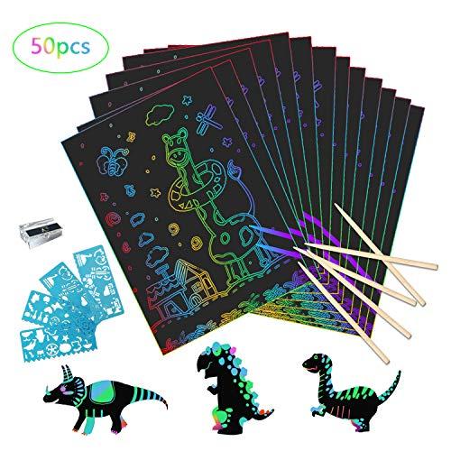 Kratzbilder Set für Kinder, 50 Große Blätter Regenbogen Kratzpapier zum Zeichnen und Basteln, mit 4 Schablonen und 5 Holzstiften (26 x 18cm) (60 Stück)
