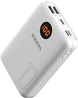 モバイルバッテリー 大容量 10000mAh ROMOSS 軽量 携帯充電器 コンパクト 急速充電 スマホバッテリー LCD残量表示 iPhone iPad Android対応 OM10