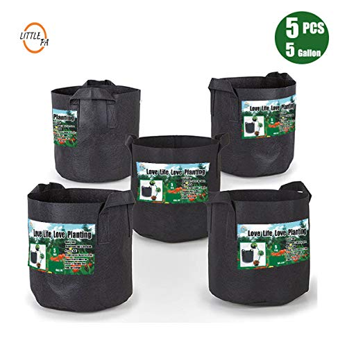 LittlePa 5-Pack 5 Gallon Grow Bags/Thickened Nonwoven Fabric pots with Handles
