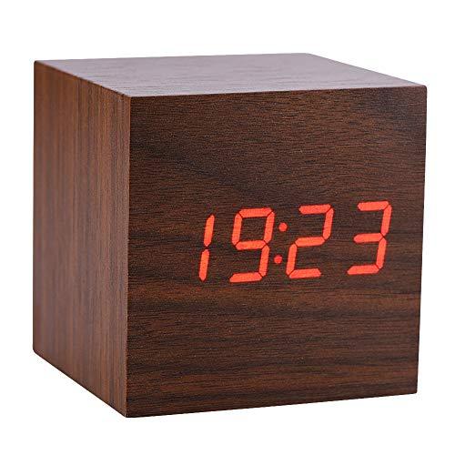 Socobeta Despertador 6x6x6cm Reloj Despertador Digital de Madera Temperatura LED Pantalla Control de Voz(Madera marrón + luz roja)