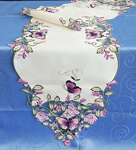 Amazing Home Fashions Fabulous Embroidery Purple Butterfly & Lavender Flowers Table Runner (13X72),Table Cloths