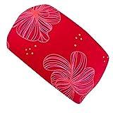 Wollhuhn Cinta elástica para el pelo para niñas y mujeres, diseño de flores, color rojo 22225555