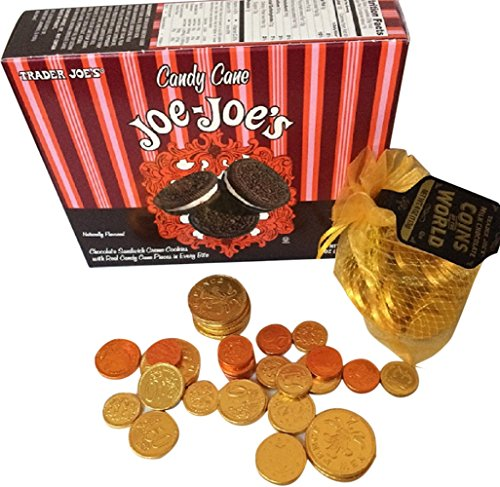 Trader Joes Candy Cane Joe Joes Oreo Sandwich Cookies plus Trader Joes Chocolate Coins of the World Best Cookies for Santa Plate and mug!