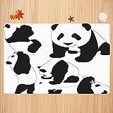 Alfombra de baño Antideslizante,Zoológico, Dibujo de Pandas bebé Botella de Leche Mosca Lindas Figuras adorables de Animales mamí Apto para Cocina, salón, Ducha (40x60cm)