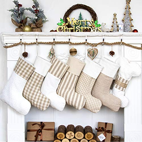 LUBOT Set of 6 Christmas Stockings(20inch) Plaid/Rustic/Farmhouse/Country Fireplace Hanging Canvas Handmade Xmas Stockings Decorations for Family Holiday Season Decor Fresh