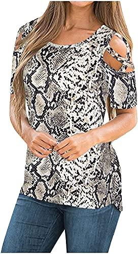 Camiseta para mujer Camiseta de verano Casual de manga corta Strapegrada Hombro frío Camisa elegante Impresión única Tops Criss Cross Front Blusas (Color : A3-brown, Size : XXL)