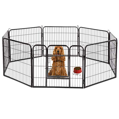 BestPet Dog Pen Playpen Dog Fence Extra Large Indoor Outdoor Heavy Duty 8 Panels 32 Inches Exercise Pen Dog Crate Cage Kennel Hammigrid Playpens