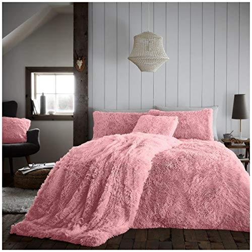 Premium Quality Teddy Sherpa Fleece Hugg & Snug Duvet Cover Set, Super Soft & Warm Quilt Set , King Size Bedding, Pink