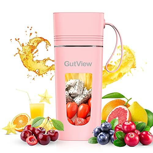 GutView frullatore portatile portatile con 4 lame Spremiagrumi a ricarica magnetica realizzata in materiale senza BPA Mini frullatore per bere con una sola mano per frullati e frullati (rosa)