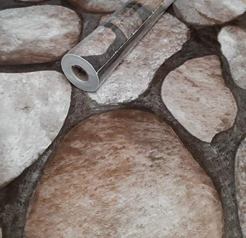 Visario Tapeten Folie 3000-S selbstklebend Felsbrocken Mauer Steine Dekor 10 m x 45 cm Dekorfolie Möbelfolie Tapete 3048