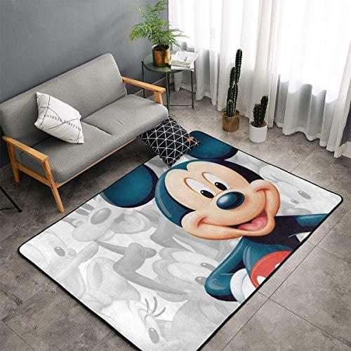 XIAODONG Alfombra de poliéster muy suave de Mickey Mouse, para decoración artística, para sala de estar, dormitorio, cocina, dormitorio, para niños, 152 x 92 cm