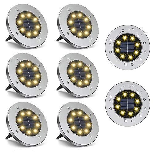 Faretti da terra a energia solare, confezione da 8 LED impermeabili, a disco, colore bianco caldo, per giardino, cortile, prato esterno, patio