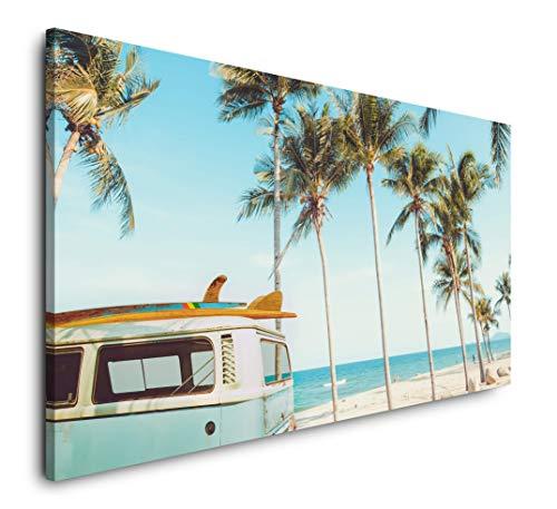 Paul Sinus Art Vintage Auto auf einem tropischem Strand 120x 60cm Panorama Leinwand Bild XXL Format Wandbilder Wohnzimmer Wohnung Deko Kunstdrucke