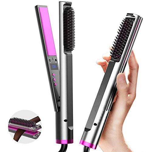Haarglätter, 3 in 1 Lockenstab Bürste Stylingbürste mit 30 Sekunden Aufheizzeit, LCD Touch-Schalter und 4 Einstellbare Temperatur für den Heimgebrauch, Reise und Salon