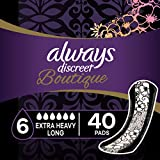 Always Discreet Boutique Incontinence Pads, Extra Heavy Absorbency, Long Length, 40 Count