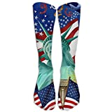 American Flag Starburst USA Patriotic Stars Stripes Athletic Tube Stockings Women's Men's Classics Knee High Socks Sport Long Sock One Size