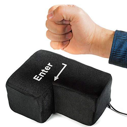 GOODS+GADGETS Big Enter Button XXL Enter-Taste mit Tisch-Kissen USB Gadget Keyboard zum Anti-Stress-Relief