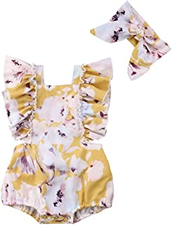 Weixinbuy Toddler Baby Girl's Ruffled Floral Flower Romper Overall Bodysuit Clothes Outfits