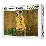FAWFAW Puzzle Personalizado 1500 Piezas, Gustav Klimt El Beso 1500/1000/500/300 Piezas