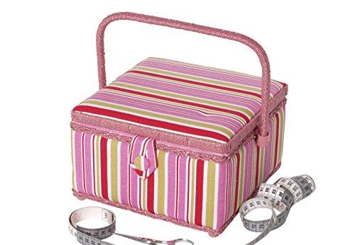 Kobolo Nähkästchen Nähkorb Nähkörbchen - Textil - pink gestreift - 23x23x14 cm
