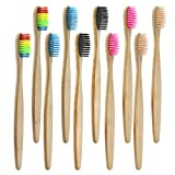 Brosse à Dents de Bambou Paquet de 10 - Brosse à Dents en Bambou à 5 couleurs -...