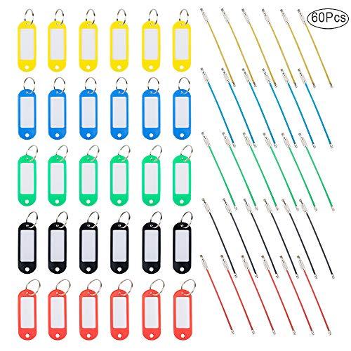 FineGood - 30 targhette per chiavi con anelli, in plastica, 30 pezzi, con etichette e finestre e portachiavi in metallo