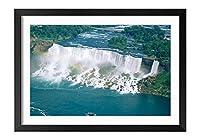 木製の枠 ズックの印刷する絵画 家の壁の装飾画 ポスター (30x40cm) 壮大な滝、滝、ボート