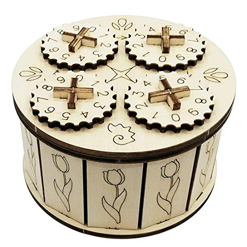 GODNECE 3D Holzbausatz, Passwort Treasure Box 3D Holz Puzzle-Mechanische Bausatz 3D Kinder DIY Modellbau Lasercut Puzzle Holz Bausatz für Kinder Erwachsene
