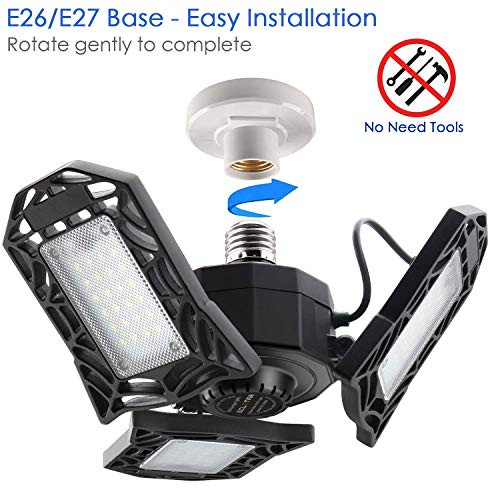 2-Pack LED Garage Lights 80W - 6000K Garage Lights Ceiling LED, 8000LM Deformable LED Garage Lighting Fixture, Shop Light with Adjustable Multi-Position Panels, LED Glow Light for Garage, Workshop 4