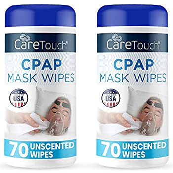 Care Touch CPAP Mask Cleaning Wipes - Unscented   2 Packs of 70 Unscented Cleaning Wipes for CPAP Masks  140 Total    Made in The USA