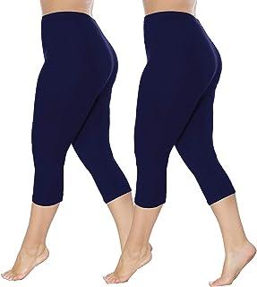 Bycc Bynn Womens 2 Pack Plus Size Capri Leggings Soft Stretch Cropped Pants