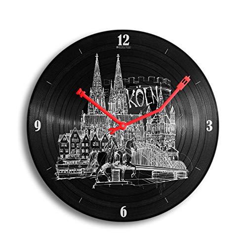Kreative Feder Köln Music Schallplatten-Uhr Retro Vinyl Designer Funk Wanduhr leise Funkuhr ohne Ticken 30cm WSP038FL (leises Funkuhrwerk)