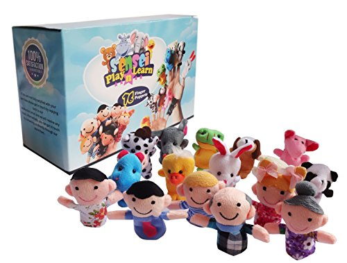Sensei Play 'n' Learn Finger Family Puppets - People & Animals - 16 pcs - Finger Puppets Zoo Animals & Family Puppets For Kids  Babies  Toddlers & The Whole Family