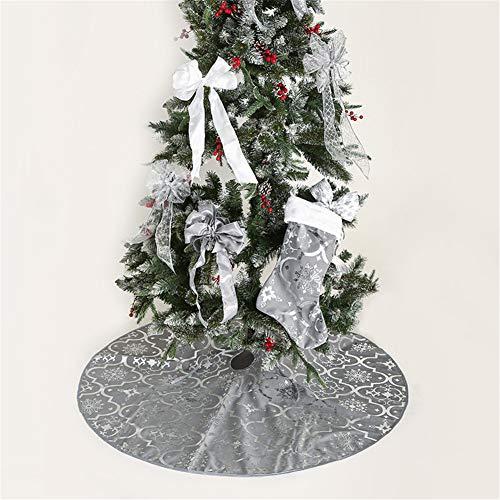Meiju Weihnachtsbaum Rock Dekoration, Decke Weinachtsdeko Weihnachtsbaumdecke Röcke Ornaments für Weihnachten Baum Rock Deko Schutz (120cm,Grau)