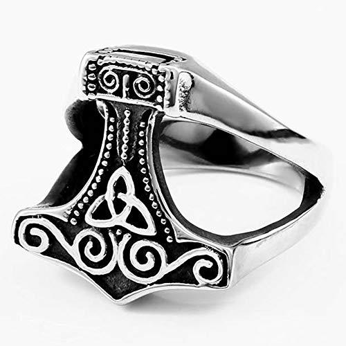 Serired Anillos Martillo Thor Acero Inoxidable Vikingo para Hombres/Mujeres, Grabado Hecho a Mano Odin Cuervo Nudo Celta Runa Parejas Irlandesas Alianza de Boda Joyería,Style1,9